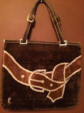 ROBERTA DI CAMERINO Italian VINTAGE purse Tan & Brown Velvet  price drop