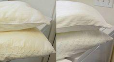 Laver les oreillers jaunis et leur redonner leur blancheur - Guide Astuces : Avec le temps, les oreillers blancs deviennent jaunes et ternes. Ne les jetez pas !