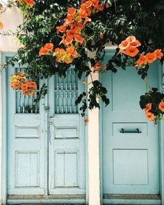 Orange flowers blue doors beautiful contrast Greek / Mediterranean doorway inspiration
