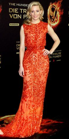 Elizabeth Banks wearing a Elie Saab gown at the Berlin premiere of The Hunger Games.
