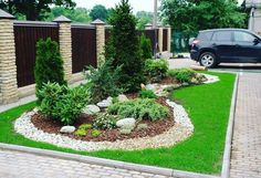 Ideas for big tree garden design Landscaping With Rocks, Outdoor Landscaping, Front Yard Landscaping, Front Yard Garden Design, Garden Trees, Landscape Design, Exterior, Architecture, Outdoor Seating