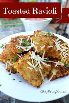 Toasted Ravioli Recipe, yum and in a red sauce!- Essentially: 1. Boil Ravioli 2. Dip in whisked egg  italian bread crumbs 3. Deep fry in veggie oil.