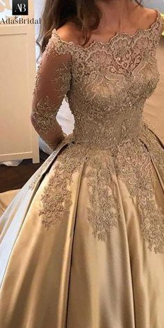 Wonderful Satin Off-the-shoulder Neckline Ball Gown Evening Dress With Beaded Lace Appliques Prom Dresses Long With Sleeves, Mob Dresses, Grad Dresses, Bridal Dresses, Fashion Dresses, Formal Dresses, Ball Gowns Evening, Evening Dresses, Elegant Dresses