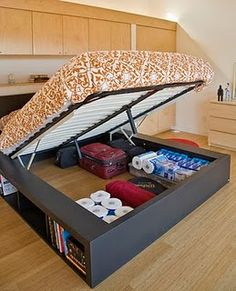 Hydraulics on my platform bed? yup! Closet Organizer With Drawers, Bed Designs With Storage, Bed Frame Diy Storage, Small House Storage Ideas, Beds With Storage, Book Storage Small Space, Ikea Under Bed Storage, Bedroom Storage Solutions, Clothes Storage Ideas For Small Spaces