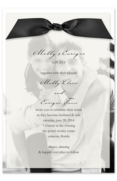 Wedding invite idea. love the frosted paper over our picture. maybe a save the date?