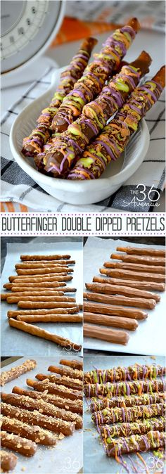 Recipes - Double Dipped Butterfinger Pretzels at the36thavenue.com Treats, dessert, easy recipe.