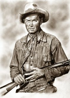 Winchester 73 ~ James Stewart es Lin McAdam by Peter Williams Cowboy Art, Cowboy And Cowgirl, Winchester, Westerns, Malboro, Western Comics, West Art, Celebrity Drawings, Actrices Hollywood