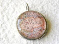 World Traveler Map Necklace or Pendant  Czech by TheGreenDaisyShop