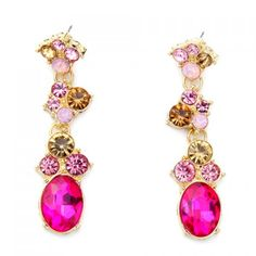 Pair of Chic Multi Colored CZ Oval Earrings