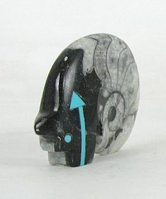 Authentic Native American fossil Bear Fetish carving by Zuni Bernard Laiwakete