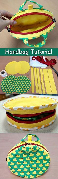 DIY Photo Tutorial Round Handbag. How To Sew. Круглая сумочка. http://www.handmadiya.com/2015/10/round-zipper-pouch-tutorial.html