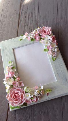 Wedding frame for wedding photo. Blush pink roses white and   Etsy