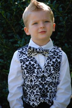 Black and white damask fully lined front and black satin lined back vest. Order in any color for boys or men. on Etsy, $34.95 (BUT WITH A HOT PINK BOW TIE)