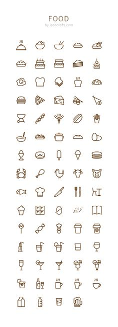 Food icon set from Iconcrafts.com, because food is good. Available in outline and fill versions. #food #icons #outline #fill #iconcrafts #flat