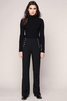 Pantalon cigarette officier noir Olivia Gerard Darel prix Pantalon Femme…