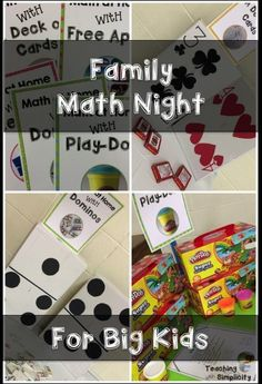 A collection of hands-on activities for hosting a Family Math Night For Big Kids!: A collection of hands-on activities for hosting a Family Math Night For Big Kids! Math Literacy, Homeschool Math, Guided Math, Math Classroom, Fun Math, Math Games, Teaching Math, Math Activities, Numeracy
