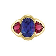 Gold, Tanzanite and Pink Tourmaline Ring   18 kt., one oval tanzanite ap. 5.50 cts., 2 shield-shaped pink tourmalines ap. 3.25 cts., ap. 11.4 dwt