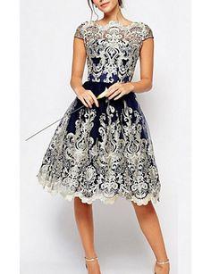 14afa0ca8bcd Γυναικεία Μεγάλα Μεγέθη Θήκη Φόρεμα - Γεωμετρικό Πάνω από το Γόνατο Μπλε  Επίσημα Φορέματα
