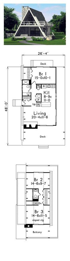 A-Frame Style COOL House Plan ID: chp-41591 | Total Living Area: 1272 sq. ft., 3 bedrooms and 1.5 bathrooms. #aframe