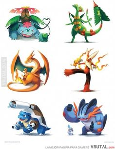Pokemon and their evolutions...so freakin' cute!