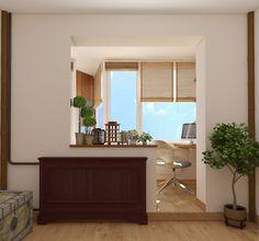 Комната с утепленной лоджией. Кабинет и пространствно для занятий йогой. Дизайн квартиры в Тропарево. Москва.