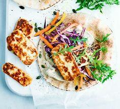 Halloumi flat bread with hummus and slaw #vegetarian #halloumi #flatbread #bbcgoodfood
