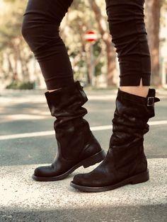 Stivali Biker Boots a Metà Polpaccio in Pelle Vintage Neri