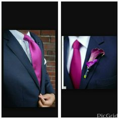 I would like my groom to have something like the pic on the right and groomsmen to have something like the pic on the left! Navy suit with magenta tie  Men's Fashion