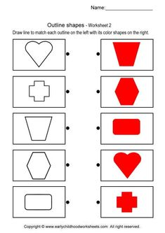 Printable brain teaser worksheets for kids in preschool, kindergarten, grade draw line to match each outline on the left with its color shapes on the right. Shapes Worksheets, Preschool Worksheets, Maths For Beginners, Printable Brain Teasers, Preschool Homework, Shapes For Toddlers, Adhd Activities, Visual Perception Activities, Shape Sort