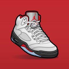 "SLOFAR on Instagram: ""Jordan 5 Fire Red #sneakerart #sneakervector #sneakerposters #jordan5 #jordan5firered"" Jordan Vi, Air Jordan Shoes, Sneaker Posters, Air Max Sneakers, Sneakers Nike, Smoke Wallpaper, Sneaker Art, Jordan Retro 1, Nike Air Max"