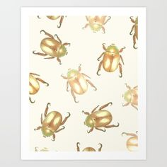 luxury golden scarab pattern Art Print