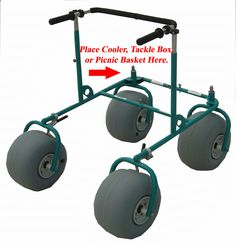 Beach Walker - Even has a space to carry your cooler, tackle box or picnic basket! - Steel frame can be disassembled without tools with separate quick release pin. Adjustable height. Your choice of powder coating - Deming Designs, Inc, 1090 Cobblestone Dr, Pensacola, FL 32514 - (850)478-5765 - kmdeming@aol.com