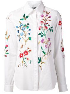 Oscar de la Renta floral embroidered shirt