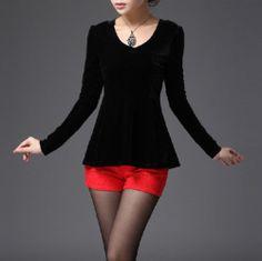 Black Long-Sleeved Vintage velvet Slim blouse TE003 plus size 10x
