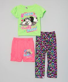 Look at this Green & Pink Leopard 'Beauty Sleep' Pajama Set - Toddler on #zulily today!