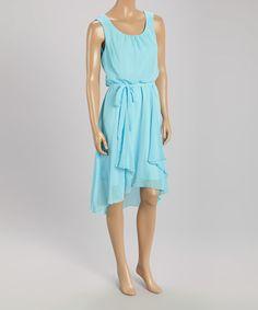 Another great find on #zulily! Blue Tie-Waist Blouson Dress - Women by Rabbit Rabbit Rabbit Designs #zulilyfinds