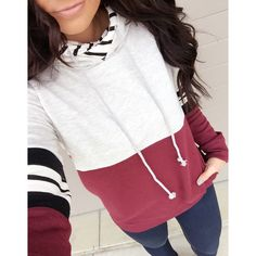 || Burgundy n Stripes Double Hooded Sweatshirt || The Burgundy N Stripes Double Hooded Sweatshirt makes the open road feel like home! This adorable sweatshirt can't wait to be your travel buddy! Also, an ideal top to relax in at home!