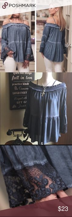 Brand New Boho Chic Indigo Blue Off The Shoulder Boho Blues Baby! This is beautiful with cold shoulder adjustable straps. Rayon. Very well made and soft! Brand new item from the boutique Tops Blouses