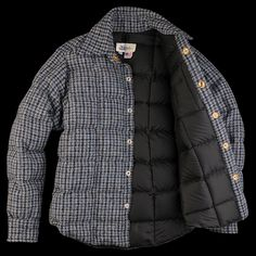 best website 11152 528d4 UNIONMADE Harris Tweed Crescent Down Works Down Shirt in Blue Houndstooth  Angle3 Harris Tweed, Sweater