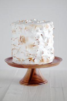 Lemon cake with meringue frosting