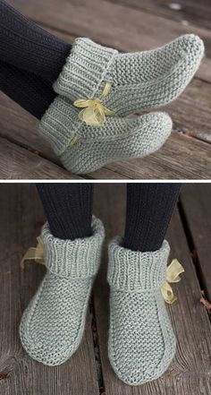Knitted Socks Free Pattern, Baby Booties Knitting Pattern, Crochet Slipper Pattern, Knitted Booties, Knitted Slippers, Sweater Knitting Patterns, Loom Knitting, Knitting Socks, Free Knitting