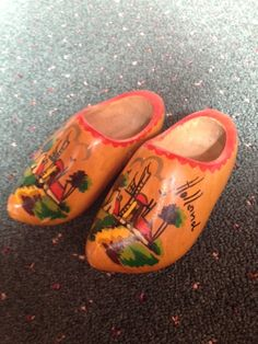 1969 Vintage Hand Painted Wooden Shoes *Souvenir from Holland Trip on Etsy, $15.00