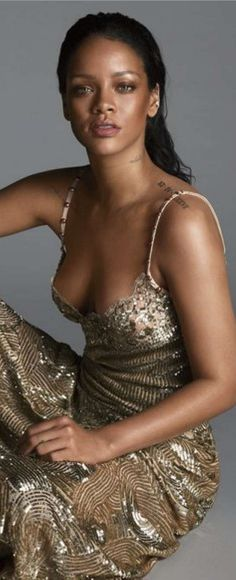 Who made Rihanna's gold sequin gown?