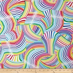 Kanvas Bright Idea Rainbow Wave White/Bright from @fabricdotcom  Designed by Greta Lynn for Kanvas in association with Benartex, this cotton print fabric is perfect for quilting, apparel and home decor accents. Colors include purple, pink, red, orange, yellow, white, shades of blue, and shades of green.