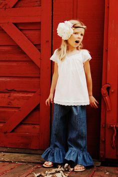 Girls ruffle denim pants ruffle jeans blue denim by emmifaye