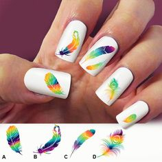 60 nail decals Feathers Peacock raimbow nail by Marziaforever