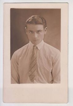 Vintage 1930s Photo Portrait Handsome Young Man Slick Back Hair Necktie Gay Int.