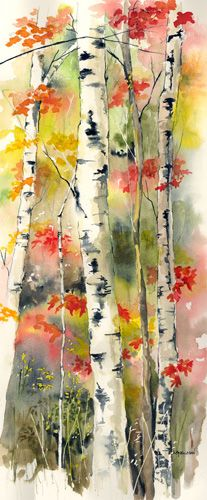 Fall Birch Forest watercolor by Kathleen Spellman
