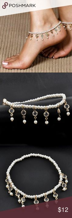 Pearl Anklet Beautiful Stretch Pearl Anklet ( listing is for 1 only ) Size: One Size  Material: Gold-tone Metal, Faux Pearls, Resin  Nickel & Lead Free  NWT Jewelry