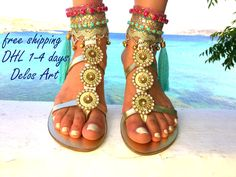 FANTASTIC NEWS!!!! WE ARE VERY HAPPY BECAUSE  WE OFFER FREE SHIPPING WORLDWIDE 1-4 DAYS  with our new cooperation with DHL!!!  Handmade leather sandals made to order. All my sandals are handmade to order and need 10 days to be made.  Just stunning!!! You'll feel and look like a goddess in these